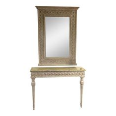 A Neoclassical Italian Console Table & Mirror French Designer Architectural HUGE