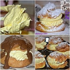 ☆☆MY MOM'S FAMOUS CREAM PUFFS☆☆ When you need a fast and fabulous dessert to feed a crowd, this is it! It makes about 16 cream puffs and the filling makes enough for you to Cream Puff Dessert, Cream Puff Recipe, Just Desserts, Delicious Desserts, Dessert Recipes, Yummy Food, Healthy Desserts, Flan, Yummy Treats