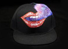 5988fc23986 Ruby Red Lips and a Galaxy Smoke Cloud Hand Painted Snapback Hat Kiss Kiss  Bang Bang