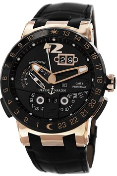 Ulysse Nardin El Toro Men's Black Leather Strap Automatic Perpetual Calendar Rose Gold Watch 326-03
