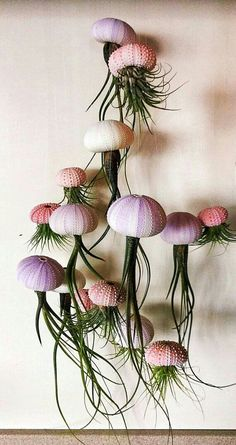 SIX Assorted Hanging Jellyfish Air Plants - Wedding Gift - Birthday Gift - Airplants Oh my gosh, love this! I think I am going to attempt to make this myself. Assorted Hanging Jellyfish Air Plants by SimplyMAEdwithlove Deco Floral, Arte Floral, Succulents Garden, Planting Flowers, Moss Garden, Fleurs Diy, Deco Nature, Decoration Plante, Cactus Y Suculentas