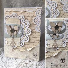 card butterfly butterflies doily dolies vintage shabby chic Gitte Blomsterbox #cardmaking #piondesign #butterfly #glitter #primadoily #doily kort sommerfugl