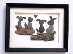 Family pet pebble picture Unique shadow box by PebbleSimplicity