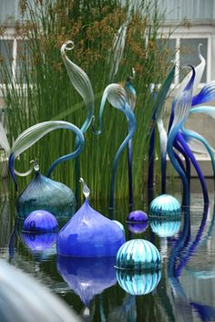 Dale Chihuly ~ Reichenbach Mirrored Balls and Blue Herons, 2006 ... New York Botanical Garden, Bronx, NY