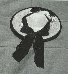 Valle di Viù - provincia di Torino -Piemonte Cappellina in paglia ornata con velluti e nastri usate nel giorno di mercato 1865