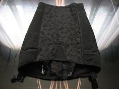Spectacular Dead stock 1950's Vintage Girdle - Black Floral Cotton Damask - Garters