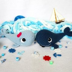 [image]   This free amigurumi pattern will help you to create a couple of amazing blue whales! The whale amigurumi pattern is super easy, it's a perfect choice for beginners. Materials: * Yarn Jeans YarnArt 55% cotton, 45% polyacryl, 160 m, 50 g or Cotton Gold Alize 55% cotton 45% acryl, 330 m, 100 g or any…  View the whole crochet pattern  Originally published at:https://amigurumi.today/blue-whale-free-amigurumi-pattern/  Dutch version-Amigurumi Today-Blue whale.pd...