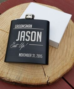 Personalized Flask, Best Man Groomsmen Bridesmaid Gift Wedding Present Suit Up #ChompCreations