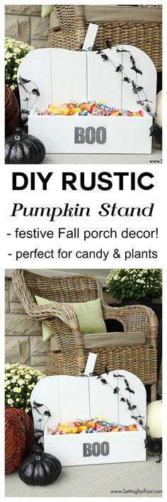 DIY Rustic Wood Pumpkin Tutorial: perfect project to make for Fall and Halloween! Decorate your porch, inside your home or for your next Halloween party! Use it to hold candy, plants, magazines and more. www.settingforfour.com