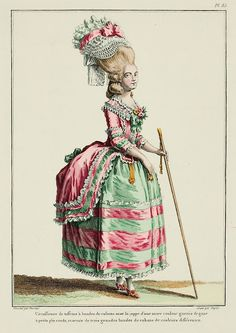 Galerie des Modes, 21e Cahier, 6e Figure  Taffeta circassienne with bands of ribbons, with a petticoat of another color trimmed with gauze in little box pleats, and trimmed with three large bands of different colored ribbons. (1779)
