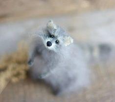 Raccoon Dolls Miniatures Raccoon Knitted Handmade by OlgaMareeva