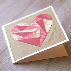 If you like jigsaw puzzles you will have lots of fun making this cute paper patchwork Valentine's day card.