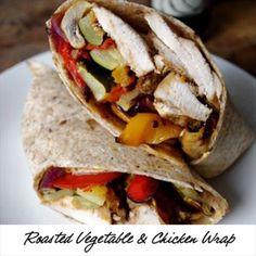 Roasted Vegetable & Balsamic Chicken Wrap [ SkinnyFoxDetox.com ] #food #skinny #health