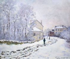 'Snow at Argenteuil' ~ Claude Monet, 1875. One of the 18 snowy works he painted near the Boulevard Saint-Denis (now number 21 boulevard Karl Marx).