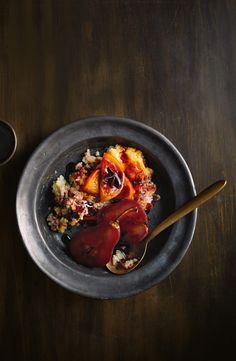 This fruity winter dessert combines red wine poached pears with creamy baked rice pudding.