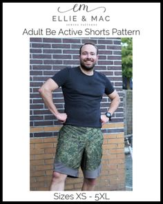 Be Active Shorts Pattern (adult's) Wacky – Ellie and Mac Tunic Dress Patterns, Jumper Patterns, Pdf Sewing Patterns, Doll Patterns, Clothing Patterns, Ellie And Mac Patterns, Applique Designs, Top Pattern, Male Body