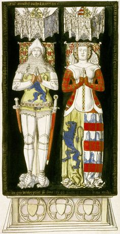 effiegy of Blanche de Roucy and her husband, notice the lady's heraldic surcote and patterned cotehardie under it. Circa 1395