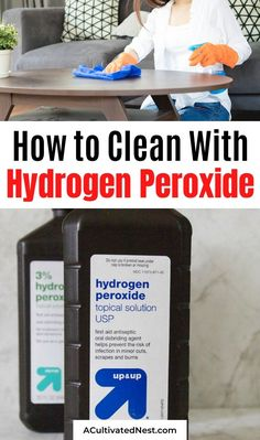If you want to disinfect your home naturally, you should use hydrogen peroxide! Here are 8 hydrogen peroxide homemade cleaner recipes to help clean many different areas in your home! Diy Home Cleaning, Household Cleaning Tips, Cleaning Recipes, Spring Cleaning, Cleaning Hacks, Homemade Wipes, Homemade Detergent, Cleaners Homemade, Diy Cleaners