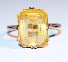 Antique Art Deco 9ct Gold 5.0ct Emerald Cut Citrine Ring