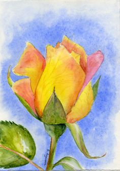 """Single rose""- I painted this flower from a photo that my husband gave me. He told me: colors are beautiful! Thanks for looking!"