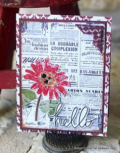 Card by Connie Mercer using Darkroom Door Daisy Eclectic Stamp, Gazette Background Stamp and Whimsical Words Rubber Stamps (hello).