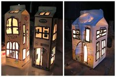 """light houses"" from used milk boxes. The little secret is that you have to make many little openings so the plastic inside will not be burned. Idea sent by NONTAS STYLIANIDIS ! Glass Bottle Crafts, Glass Bottles, Diy For Kids, Crafts For Kids, Craft Kids, Toddler Crafts, Milk Carton Crafts, Milk Box, Diy Wind Chimes"