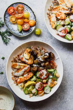 Lunch Meal Prep, Healthy Meal Prep, Healthy Eating, Eating Clean, Healthy Food, Vegetarian Lunch, Vegetarian Recipes, Healthy Recipes, Halloumi Salad