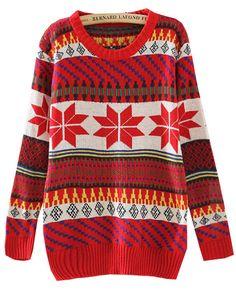 Red Long Sleeve Snowflake Tribal Pattern Sweater - Sheinside.com
