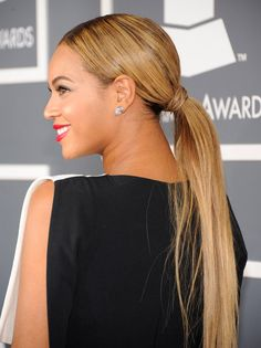 Hidden hairband & low ponytail - Beyonce Knowles Grammys 2013