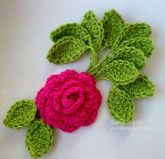 Crochet rose and leaves - tutorial