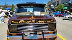 """""""Hot Chocolate"""" custom Ford show van Custom Chocolate, Hot Chocolate, Cool Vans, Custom Vans, Ford, Buses, Vehicles, Delivery, Personalised Chocolate"""