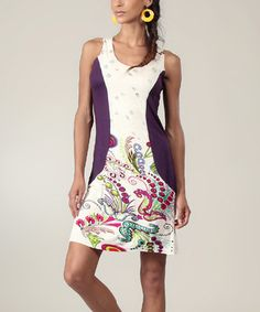 White & Plum Abstract Tank Dress