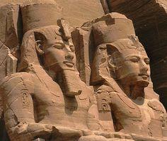 Twin statues of Ramses II at Abu Simbel were carved between 1279-1213 B.C.