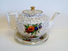 1930s Art Deco Chintz Teapot and Stand with Fruit Decoration Vintage Teapot Vintage Housewares Vintage Serving Vintage Kitchen Vintage Table on Etsy, $45.00