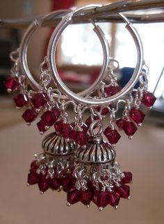 Jaipur Jhumkas  Silver Jhumkas with Ruby Red Swarovski by jhumkas, $169.00