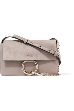 CHLOÉ Faye small leather and suede shoulder bag....Mushroom leather and suede (Calf) Snap-fastening front flap Weighs approximately 1.8lbs/ 0.8kg Made in Spain