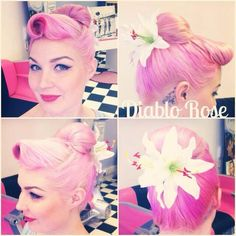it's a girl thing I know . Fancy Hairstyles, Vintage Hairstyles, Pin Up Hair, My Hair, Peter Pan Outfit, Rockabilly Hair, Dream Hair, Pin Up Style, Hair Dos