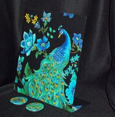 """Peacock Fabric Magnetic Board - Freestanding Style for Desktop or Counter top - 11"""" x 12"""""""