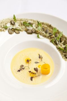 Butternut squash velouté with toasted pumpkin seeds by Simon Gueller