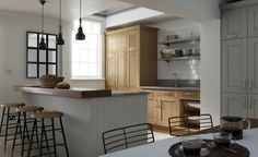 The best – oak kitchen cabinets with red walls. Oak Kitchen Cabinets, Kitchen Stools, Kitchen Cabinet Design, Kitchen Decor, Kitchen Ideas, Bathroom Cabinets, Kitchen Inspiration, Kitchen Designs, Kitchen Grey
