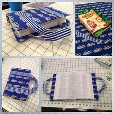 Bible Cover made with modified tutorial pattern linked to picture Sewing Hacks, Sewing Tutorials, Sewing Crafts, Sewing Patterns, Bible Bag, Sewing Projects For Guys, Bible Cases, Fabric Book Covers, Sewing To Sell