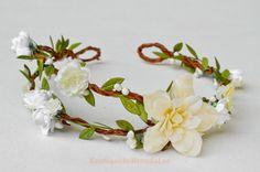 BRENDA LEE Cream white Delphinium Flower head wreath floral hair accessory/wedding bridal bridesmaids bride women adult girl party