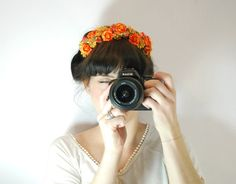 Statement hairpiece - Orange and gold floral headband - Frida Kahlo inspired headpiece - Floral headband - Orange headband - bright headband on Etsy, $23.35 AUD