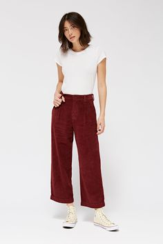 Frankie Trousers in Maroon - LACAUSA CLOTHING