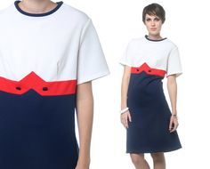 1960s Mod Dress Red White Blue Color Block 60s Mini by oldage