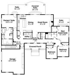 Ranch Style House Plan - 4 Beds 2.5 Baths 2400 Sq/Ft Plan #124-818 Floor Plan - Main Floor Plan - Houseplans.com