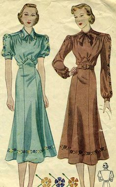 Vintage 1930s Simplicity 2516 CUT Misses Afternoon by RomasMaison, $46.00