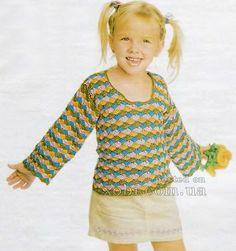 пуловер для девочки вязаный крючком