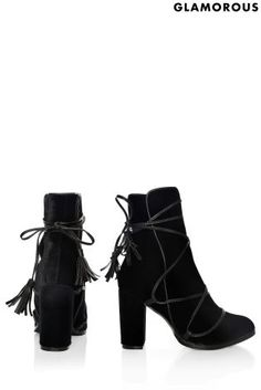 Buy Glamorous Velvet Tie Up Ankle Boots from the Next UK online shop