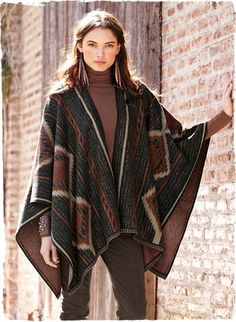 This fabulous ruana is inspired by a Navajo blanket http://www.peruvianconnection.com